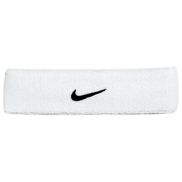 Swoosh Tennis Headband White/Black The Nike Swoosh Tennis Headband is a classic 2 wide headband with embroidered Swoosh logoFabric 69 Cotton 26 Nylon 5RubberColor WhiteBlackSize One Size
