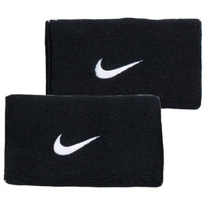 NIKE SWOOSH DBLEWIDE WRISTBANDS BLACK/WHITE
