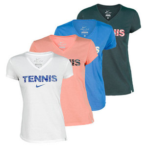 NIKE WOMENS V NECK TENNIS READ TEE