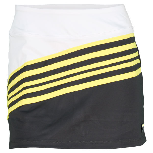 Women's Baseline Tennis Skort Gun Metal/Fluorescent Yellow/Wh