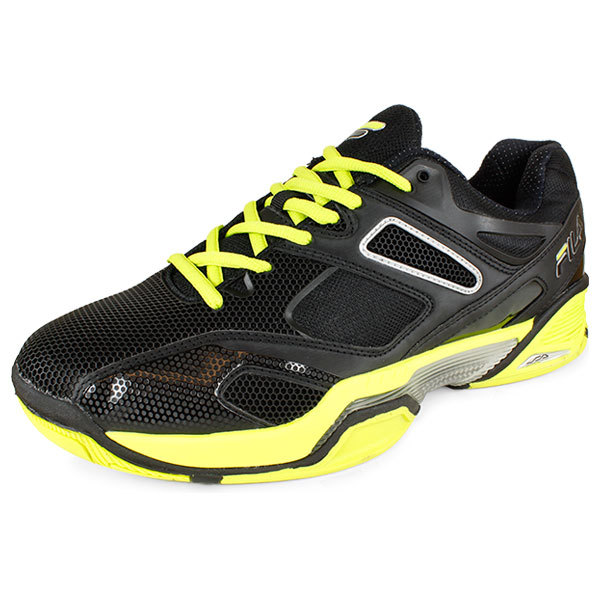 fila s sentinel tennis shoes black and neon