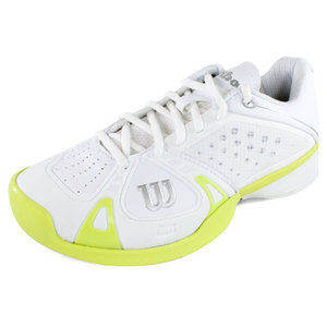 WILSON WOMENS RUSH PRO WHITE/CYBER GN SHOES