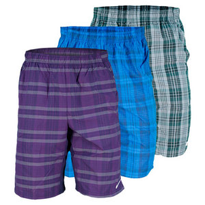 NIKE MENS NET 10 INCH PLAID WOVEN SHORT
