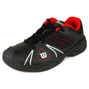 WILSON JUNIORS OPEN BLACK/WILSON RED SHOES