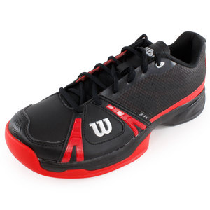 WILSON MENS RUSH BLACK/WILSON RED TENNIS SHOES