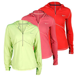 NIKE WOMENS LONG SLVE BRUSHED HALF ZIP HOODIE