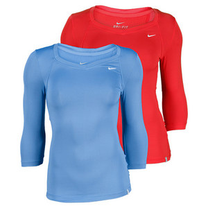 NIKE WOMENS 3/4 SLEEVE JERSEY TENNIS TOP
