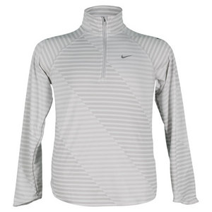 NIKE GIRLS JACQUARD ELEMENT HALF-ZIP GR/WH LS