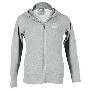 NIKE GIRLS PLAYER AW77 FULL-ZIP GREY HOODY