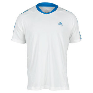 adidas MENS RESPONSE WHITE/BLUE TENNIS TEE
