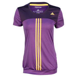 adidas WOMENS RESPONSE PURPLE/GO/VI TENNIS TEE