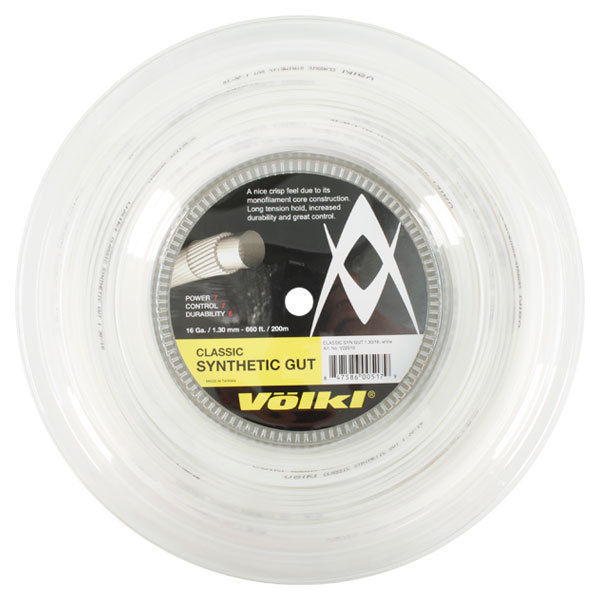 Classic Synethic Gut 16g/1.30 Reel String White