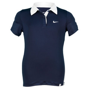 NIKE GIRLS NAVY BLUE BORDER TENNIS POLO