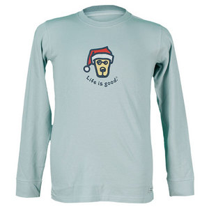 LIFE IS GOOD BOYS ROCKET SANTA LS TEE FOGGY BLUE