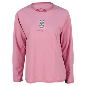 LIFE IS GOOD WOMENS PEACE GLOVE LS SLEEP TEE PINK