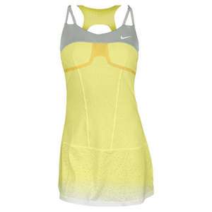 NIKE WOMENS PREMIER MARIA TENNIS DRESS YELLOW