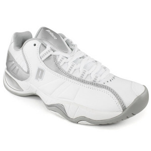 PRINCE WOMENS T7 TENNIS SHOES WHITE/SILVER