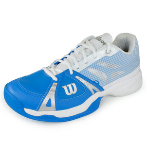 WILSON MENS RUSH POOL/WHITE/SILVER TENNIS SHOES