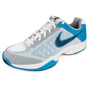 NIKE MENS AIR CAGE COURT SHOES WHITE/TURQ