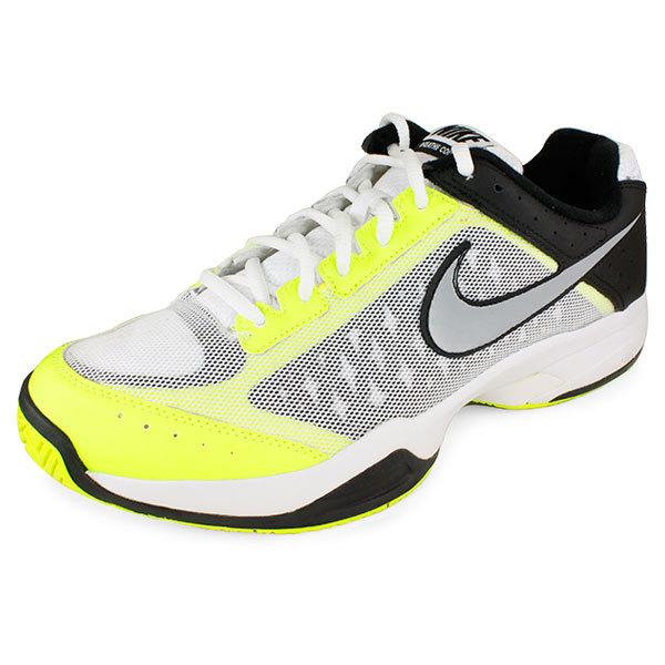 Men's Air Cage Court Tennis Shoes White/Volt/Black