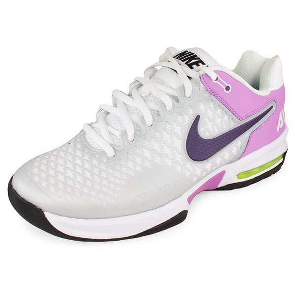 NIKE Women`s Air Max Cage Tennis Shoes Pure Platinum/Atomic Purple