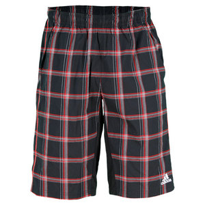 adidas MENS PLAID BERMUDA SHORT BK/LT SCARLET