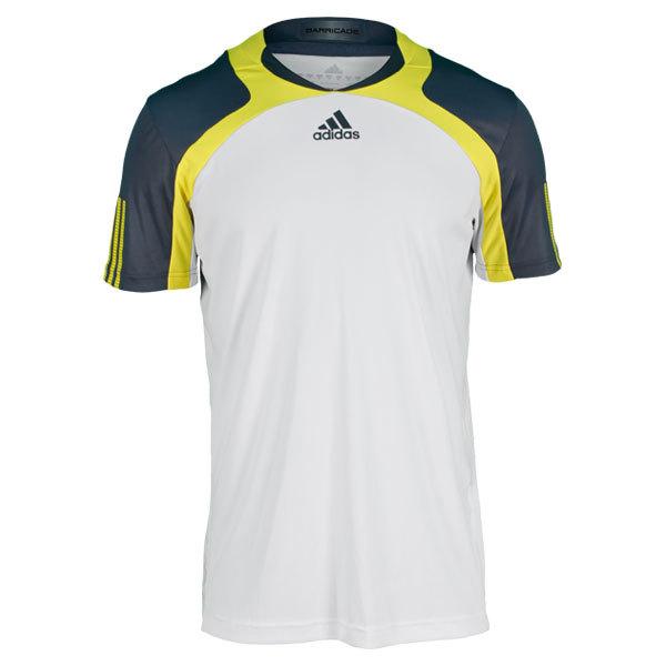 Men's Adipower Barricade Tennis Crew Tee White/Dark Onix/Vivid Yellow