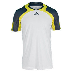 Men`s Adipower Barricade Tennis Crew Tee White/Dark Onix/Vivid Yellow