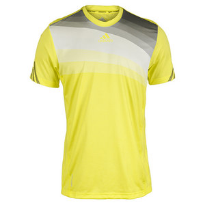 adidas MENS ADIZERO TENNIS CREW TEE YELLOW/GREY