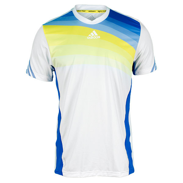 Men's Adizero Tennis Crew Tee White And Blue