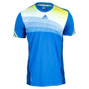adidas MENS ADIZERO TENNIS CREW TEE BLUE/YEL/WH