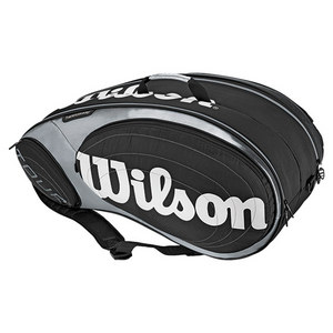 WILSON TOUR 9 PACK TENNIS BAG BLACK/SILVER
