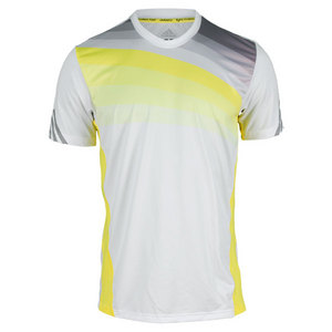 adidas Men`s Adizero Tennis Crew Tee White/Yellow