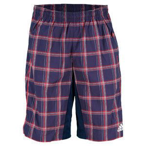adidas MENS PLAID BERMUDA SHORT COLLEG NAVY