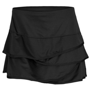 LUCKY IN LOVE WOMENS SCALLOPED BORDER SKIRT BLACK