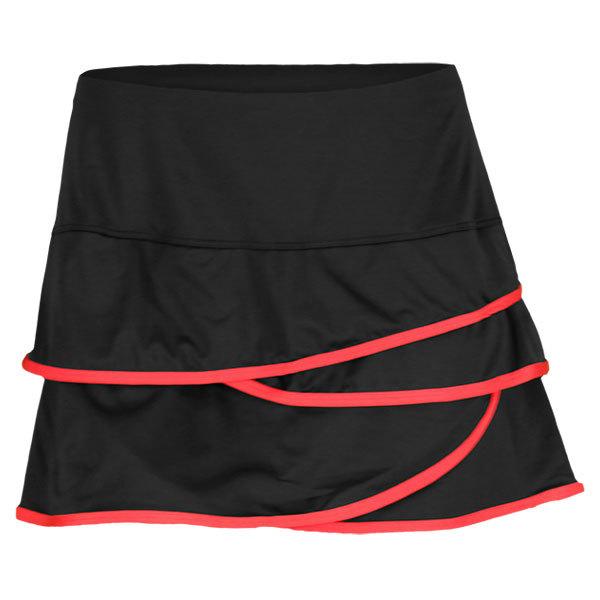 Women's Scalloped Border Skirt Black/Red