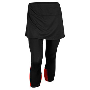 LUCKY IN LOVE WOMENS COLOR BLOCK CAPRI BLACK/RED