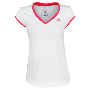 adidas WOMENS TS GALAXY CAP SLEEVE WHITE/PINK