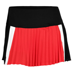 LUCKY IN LOVE WOMENS COLOR BLOCK PLEAT TENNIS SKIRT RD