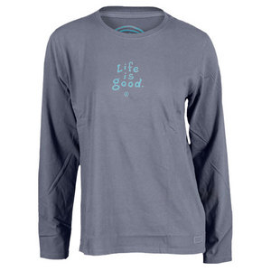 LIFE IS GOOD WOMENS CRUSHER LONG SLEEVE TEE TRUE BLUE