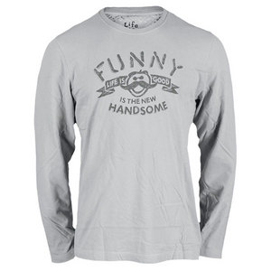 LIFE IS GOOD MENS CREAMY LONG SLEEVE TEE SIMPLY LT GY