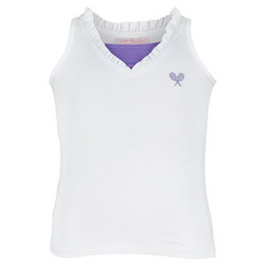 LITTLE MISS TENNIS GIRLS TENNIS TANK WHITE/VIOLET