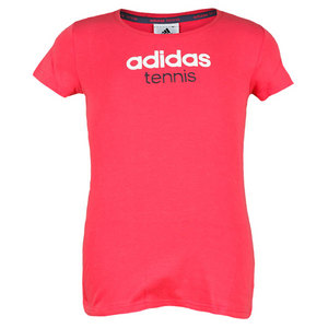 adidas GIRLS TENNIS SEQUENC LOGO TEE BLAZE PINK