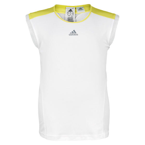 Girl's Adizero Cap Sleeve Top White/Vivid Yellow