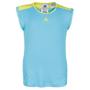 adidas GIRLS ADIZERO CAP SLEEVE TOP LT AQUA/YL