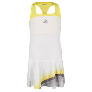 adidas WOMENS ADIZERO TENNIS DRESS WHITE/YL/GY