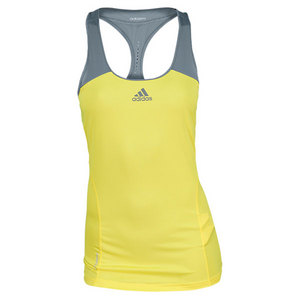 adidas WOMENS ADIZERO TENNIS TANK YELLOW/GREY