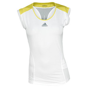adidas WOMENS ADIZERO CAP SLEEVE TOP WHITE/YL