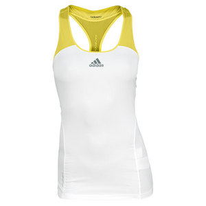 adidas WOMENS ADIZERO TENNIS TANK WHITE/YELLOW