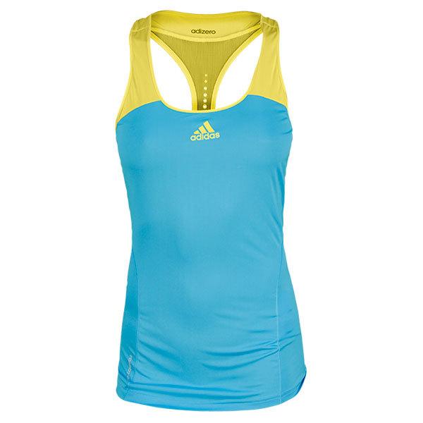 Women's Adizero Tennis Tank Light Blue And Yellow